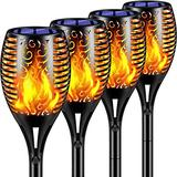 """TomCare Solar Lights 99 LED Flickering Flame Solar Torches Lights 43"""" Waterproof Outdoor Lighting Solar Powered Pathway Lights Landscape Decoration Lighting Auto On/Off for Garden Patio Yard, 4 Pack"""