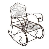 Firlar Outdoor Rocking Chair, Metal Rocking Arm Chair, Porch Rocker Single Solid Leisure Chair, Comfortable Outdoor Furniture for Garden Backyard, Dark Brown