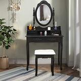 Vanity Table Set Makeup Desk with Mirror, Makeup Vanity Dressing Table with 4 Drawers Modern Makeup Vanity Desk for Women, Dresser Desk Vanity Set for Bedroom Furniture Decor Black-U.S.Shipping