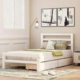 Harper & Bright Designs Twin Bed Frame,Twin Platform Bed Frame with Storage Drawers and Headboard, Wood Bed Frame Twin for Toddlers, Kids, Guest Room,no Box Spring Needed (White with Drawers)