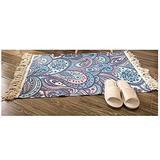 ACYY Woven Rug Kitchen Rug Tassel Carpet Woven Rugs Cotton Carpet Floor Mat Blanket Bedroom Living Room Home Decor Foot Pad Prayer Mat (Color : H, Size : 600MMx900MM)