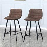 """Modern Bar Stools Set of 2,Bar Chairs Counter Height Bar Stool with Faux Leather Back and Footrest, Accent Chairs Dining Kitchen Stools Chairs for Counter,Home(16.7""""L x 14.7""""W x 34.3""""H)(Retro Brown)"""