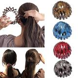 Birds Nest Hair Bands, Ponytail Hairpin Curling Iron Aeoram, Fashion Women Expandable Ponytail Holder Bun Crystal Claw, Hair Accessory for Women Girls (Type B)