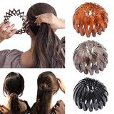 Birds Nest Hair Bands, Ponytail Hairpin Curling Iron Aeoram, Fashion Women Expandable Ponytail Holder Bun Crystal Claw, Hair Accessory for Women Girls (Type A)