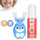 Electric Toothbrush with U-Shaped Toothbrush Wireless Charging Children Electric Toothbrush Cartoon Pattern Silicone U?Shaped Head Toothbrush Children Automatic Sonic Electronic Toothbrush (#1)