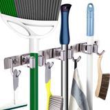WFX Utility™ Parnassus Mop Broom Heavy Duty Stainless Steel Tool Organizer Metal in Green, Size 2.0 H x 17.5 W x 2.0 D in   Wayfair