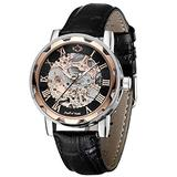Mens Mechanical Wrist Watch, Skeleton Watches for Men, Men Automatic Steampunk Self Winding Watches, Casual Leather Bands Dress Watches with Roman Numerals Dial, Rose Gold