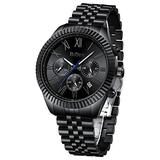 Mens Watches Black Chronograph Stainless Steel Waterproof Analogue Quartz Watch Fashion Casual Large Calendar Date Wrist Watches for Men 42MM Gifts for Fathers Day