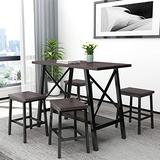 Knocbel Counter Height Dining Table Set for 4, Home Kitchen Dining Room Bistro Bar Set with 1 Table & 4 Stools (Espresso and Black)