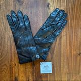 Coach Accessories | Coach Leather Cashmere Mahogany Logo Gloves Size 7 | Color: Brown/Tan | Size: 7