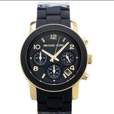 Michael Kors Jewelry | Michael Kors Black And Gold Watch | Color: Black/Gold | Size: Os