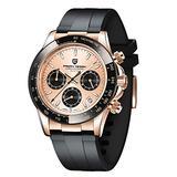 Pagani Design Men's Chronograph Watch,Japan VK63 Movement, Synthetic Sapphire Glass, 100m Waterproof, Rubber Strap, Fashion Quartz Wrist Watches for Men (Gold)