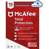 McAfee Total Protection with Safe Connect VPN 2021 , 10 Device, Antivirus Internet Security Software, VPN, Password Manager, Parental Control, Privacy, 1 Year, Download Code