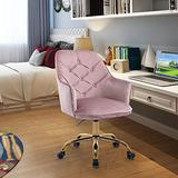 HomVent Upholstered Swivel Chair, Modern Design Accent Arm Chair, Velvet Desk Chair Leisure Arm Chair Adjustable Swivel Task Stool with Gold Plating Base for Living Room/Bedroom/Office (Pink)