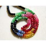 GemAbyss Beads Gemstone Multi Gemstone Necklace, Sapphire Beads, Emerald Beads, Ruby Beads 3mm to 3.5mm Beads, 15 Inch Strand Code-MVG-30528