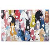 Colourful Cartoon Horses Pony Childhood Pattern 1000 Pieces Wooden Jigsaw Puzzles for Adults, 29.5x19.7 Inch Mini Puzzles, Landscape Difficult Puzzle Art for Men and Women