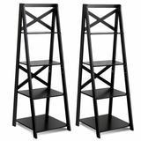 Costway 4-Tier Wood Display Storage Bookshelf-Black