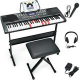 Costway 61-Key Electronic Keyboard Piano with Lighted Keys and Bench