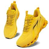 MOSHA BELLE Women Gym Tennis Shoes Casual Ladies Slip on Female Walking Street Running Daily Basic Knit Sneakers Yellow Size 5.5