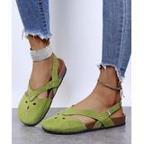 PAOTMBU Women's Sandals GREEN - Green Cutout Closed-Toe Sandal - Women