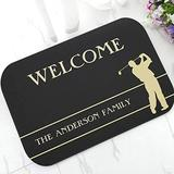 RQJOPE Bath mat Doormat Novelty Black Silhouette Golf Golfer Welcome Doormat Personalised Golf Door Mat Rug Carpet for Kitchen Non Slip Home Decor Gift Party Christmas Home decoration-50x80cm