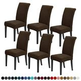 Joccun Chair Covers for Dining Room Set of 6,Water Repellent Dining Chair Slipcovers Stretch Dining Room Chair Covers Seat Protector,Washable Parsons Chair Cover for Home,Banquet(Seal Brown,6 Pack)