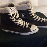 Converse Shoes | Converse Brown Suede Gym Shoe Boots With Fur | Color: Brown | Size: 7
