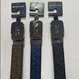 Michael Kors Accessories | Michael Kors Metal Plaque Mk Logo Belt Brown Only | Color: Brown | Size: Various