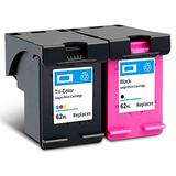 Remanufactured Ink Cartridge Replacement for HP 62XL High Yield Compatible With OfficeJet 200 258 5740 8040 Envy 5540 5542 5640 7640 8000 Printer 1 Black 1 Tri-Color 1 Black 1 Tri-Color