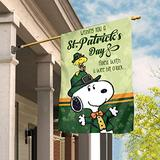 """chococo Snoopy and Woodstock Wishing You A St. Patricks Day Filled with A Wee Bit O'Luck Flag, Snoopy Flag, Snoopy St Patricks Day Flag House Flag Garden Flag (House Flag 29.5""""x39.5"""")"""
