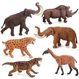 JJAIR Simulation Woolly Rhino Figure Collectible Toys, Sabre Tooth Tiger, Mammoth, Elephant Solid Wild Animal Action Figures Kids Animal Cognitive Toys