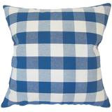 August Grove® Lopes Plaid Down Filled 100% Cotton Throw Pillow Down/Feather/Cotton in Blue/White, Size 18.0 H x 18.0 W x 5.0 D in | Wayfair