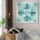 Bungalow Rose 'Garden Getaway Tile VI Teal' Framed Print Canvas Canvas & Fabric in Brown/Green, Size 18.0 H x 18.0 W x 1.0 D in | Wayfair