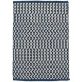Dash and Albert Rugs Harvey Geometric Handmade Blue Indoor/Outdoor Area Rug Polyester in White, Size 36.0 H x 24.0 W x 0.13 D in | Wayfair DA907-23