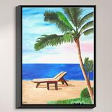 DiaNoche Designs 'Strand Chairs on Caribbean' Print on Wrapped Framed CanvasCanvas & Fabric in Black/Blue/Brown, Size 17.75 H x 13.75 W x 1.0 D in
