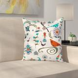 East Urban Home Waterproof Graphic Print Square Pillow Cover Polyester/Polyester blend in Blue/White, Size 16.0 H x 16.0 W x 2.0 D in   Wayfair
