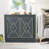 Everly Quinn Studded 2 - Door Accent Cabinet Wood in Green, Size 29.0 H x 31.88 W x 16.0 D in   Wayfair EYQN6069 44500522