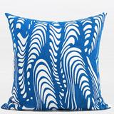 G Home Collection Luxury Warp Embroidered Cotton Throw Pillow Polyester/Polyfill/Cotton in Blue, Size 20.0 H x 20.0 W x 3.0 D in | Wayfair