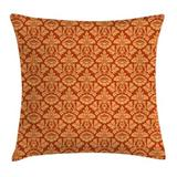 Ambesonne Antique Royal Victorian Damask Square Pillow Cover Polyester/Polyester blend in Orange/Red, Size 16.0 H x 16.0 W x 2.0 D in | Wayfair