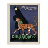 Stupell Industries Vintage Women's Fashion Campaign w/ Leopard by Ernest Montaut - Graphic Art Print Wood in Brown, Size 19.0 H x 13.0 W x 0.5 D in