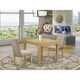 Winston Porter Belser 3 - Piece Rubberwood Solid Wood Dining Set Wood/Upholstered Chairs in White, Size 30.0 H x 36.0 W x 36.0 D in   Wayfair
