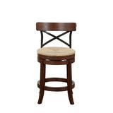 Red Barrel Studio® Tosha Swivel Bar & Counter StoolWood/Wicker/Rattan in Brown, Size 42.75 H x 19.0 W x 18.5 D in   Wayfair