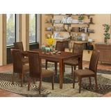 Winston Porter Galestown 7 Piece Solid Wood Dining Set Wood/Upholstered Chairs in White, Size 29.0 H x 36.0 W x 60.0 D in | Wayfair