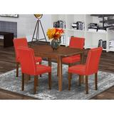 Winston Porter Sigismondo 5 Piece Extendable Solid Wood Dining Set Wood/Upholstered Chairs in Brown, Size 30.0 H in | Wayfair