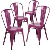 Williston Forge Eva Metal Slat Back Stacking Side chair Metal, Size 33.5 H x 17.75 W x 20.0 D in | Wayfair 4-ET-3534-PUR-GG