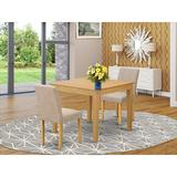 Winston Porter Fatma 3 Piece Solid Wood Dining Set Wood/Upholstered Chairs in Brown, Size 30.0 H x 36.0 W x 36.0 D in   Wayfair