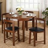 Andover Mills™ Mabelle 5 - Piece Dining SetWood/Upholstered Chairs in Brown, Size 29.6 H x 41.3 W x 41.3 D in | Wayfair