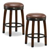 Millwood Pines Coomes Swivel Bar & Counter Stool Wood/Upholstered/Leather/Faux leather in Red/Brown, Size 26.0 H x 19.0 W x 19.0 D in | Wayfair
