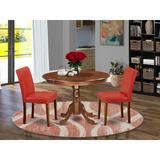 Winston Porter Nomi 3 - Piece Solid Wood Rubberwood Dining Set Wood/Upholstered Chairs in Brown, Size 30.0 H x 42.0 W x 42.0 D in | Wayfair
