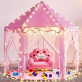 e-Joy 4.6' x 4.6' Indoor/Outdoor Fabric Play Tent w/ Carrying Bag Fabric in Pink, Size 55.0 H x 55.0 W x 55.0 D in | Wayfair